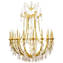 Gold and Crystal Rock Chandelier with Hand-Cut Crystal Rock Pendants, 2017