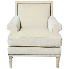 Schumacher Jansen Strié Velvet Oyster Nailhead Trim Maplewood-Leg Sock Arm Chair