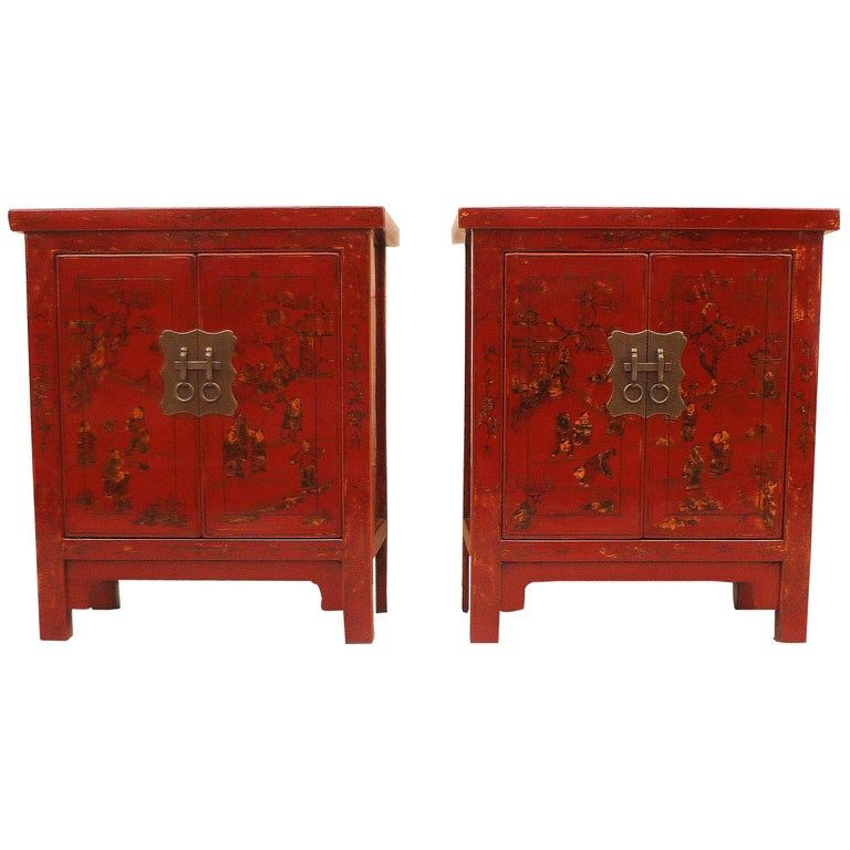 Pair of Fine Red Lacquer Chests with Gilt Motif For Sale