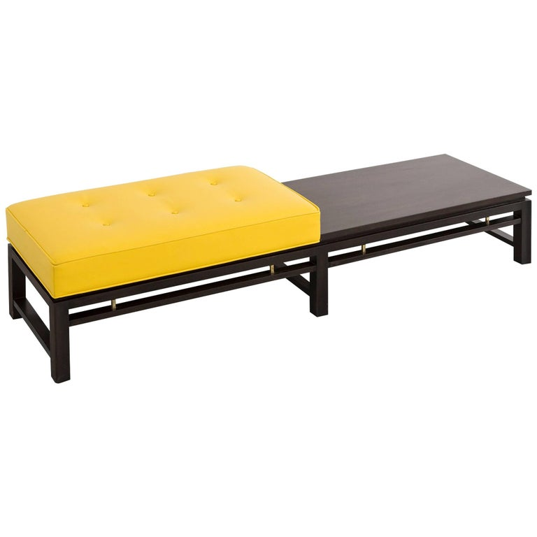 Mid-Century Modern Mahogany and Leather Bench by Edward Wormley for Dunbar