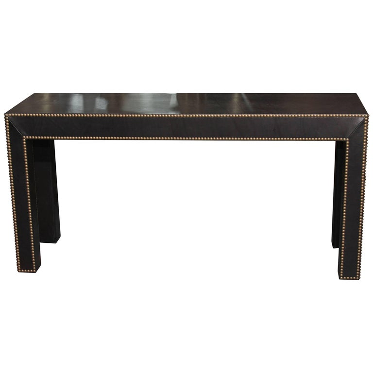 Modern Console Table in Black Leather and Nailhead Trim For Sale