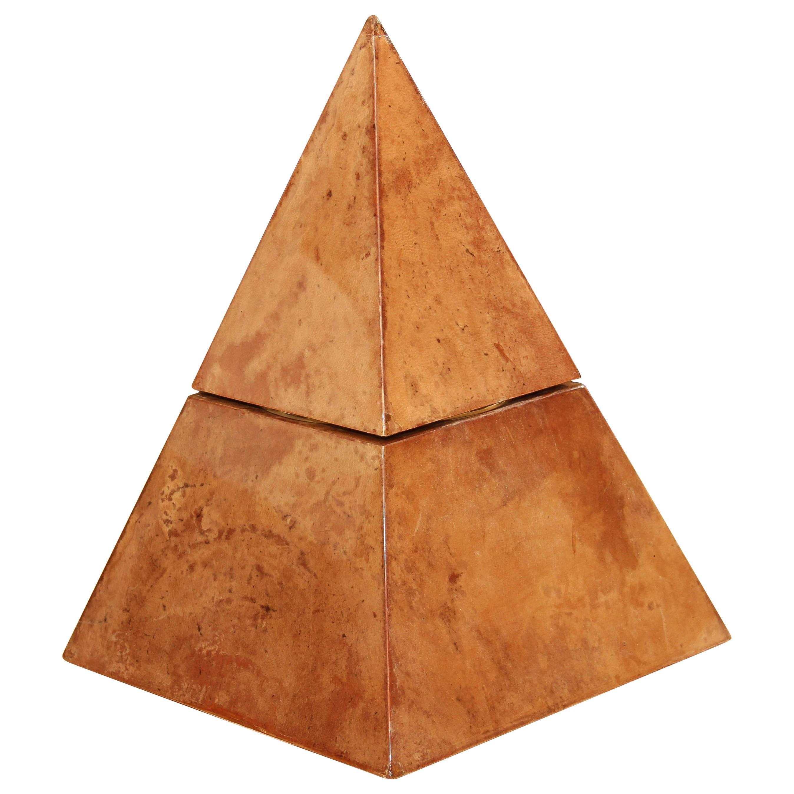 Aldo Tura Lacquered Goatskin Pyramidal Ice Bucket Sculpture