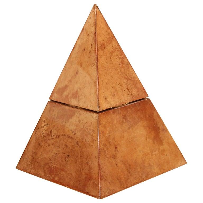 Aldo Tura Lacquered Goatskin Pyramidal Ice Bucket Sculpture For Sale