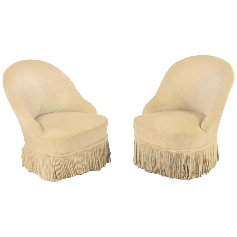 Napoleon III Style Slipper Chairs, Pair
