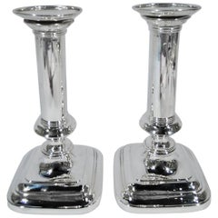 Pair of Gorham Sterling Silver Modern Column Candlesticks