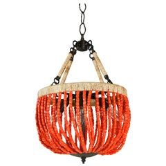 Custom Iron Hanging Light with Coral Beads