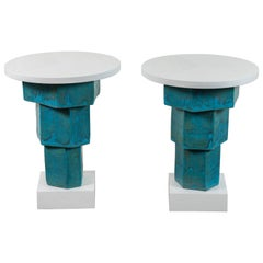 Pair of Solid Oak and Ceramic Side Tables by Bzippy & Co. for Collabs in Clay