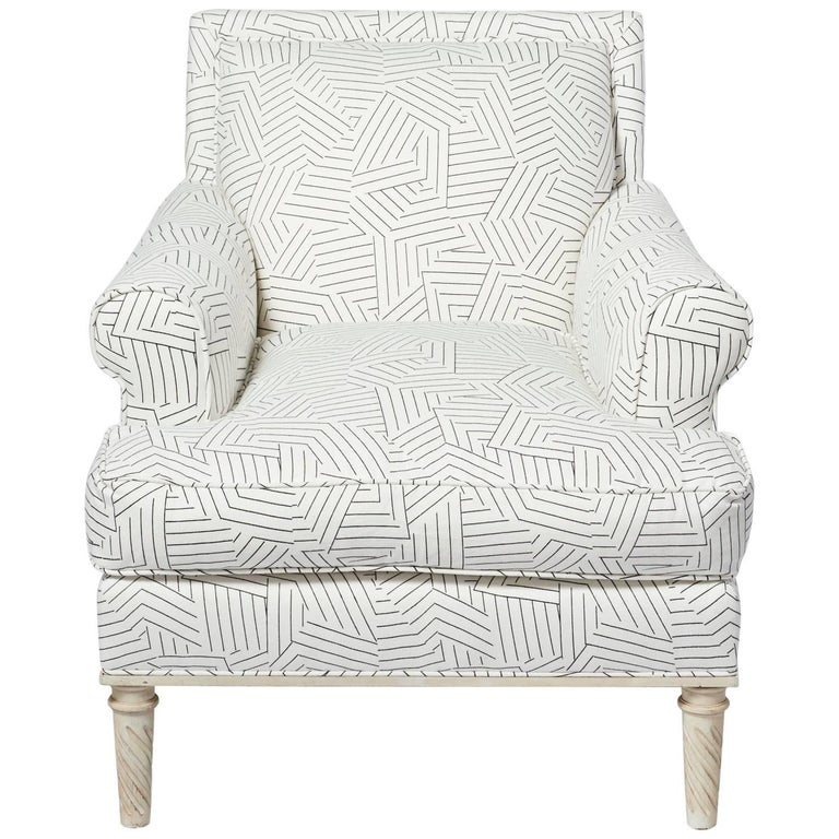 Schumacher Jansen Deconstructed Stripe Maplewood-Legged Sock Arm Chair