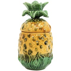 Portuguese 1960s Majolica Glazed Ceramic Pineapple Container or Ice Bucket