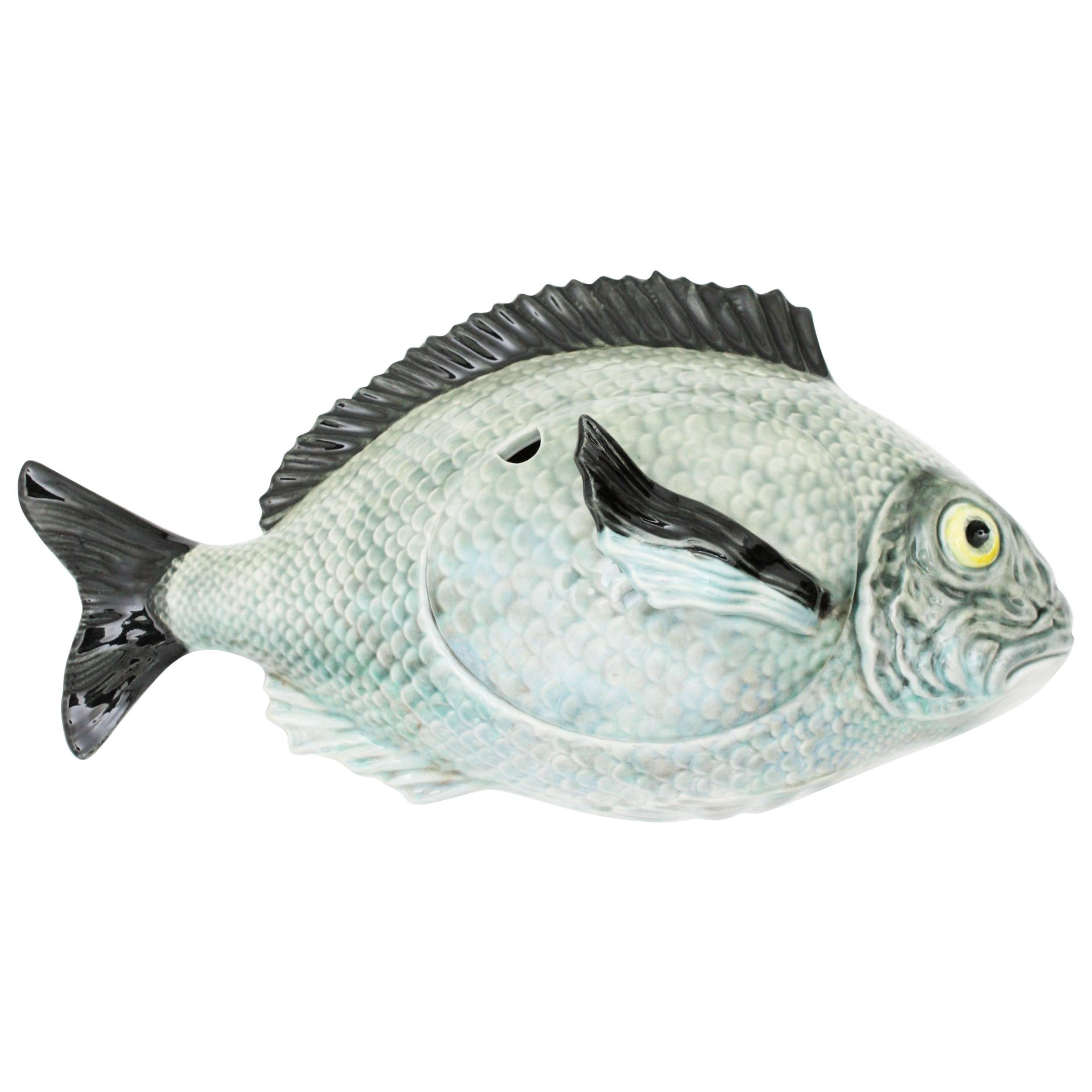 Bordallo Pinheiro Majolica Ceramic Blue Grey Huge Fish Tureen, Portugal, 1950s