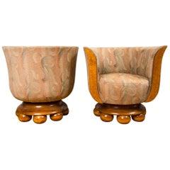 Pair of Burl Wood Art Deco Club Chairs from Belgium