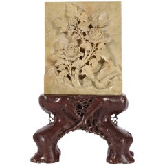Scholar's Object Stone Plaque on Root Form Stand