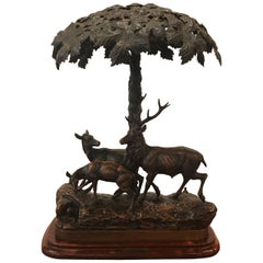 French Bronze Forest Scene Table Lamp