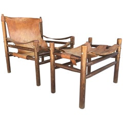 Vintage 1970s Hungarian Safari Chair and Ottoman in the Manner of Arne Norell