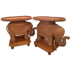 Pair of Wicker Elephant Garden Stool Stands End Side Tables Palm Beach