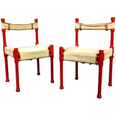 Red Lacquer and Canvas Side Chair, Manner of Otto Frei, 1970s