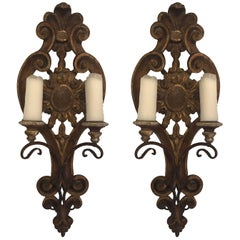 Pair of Hand-Carved Italian Candle Sconces