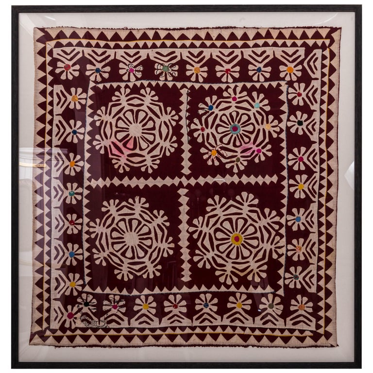 Framed Antique Hand Patchwork from India For Sale