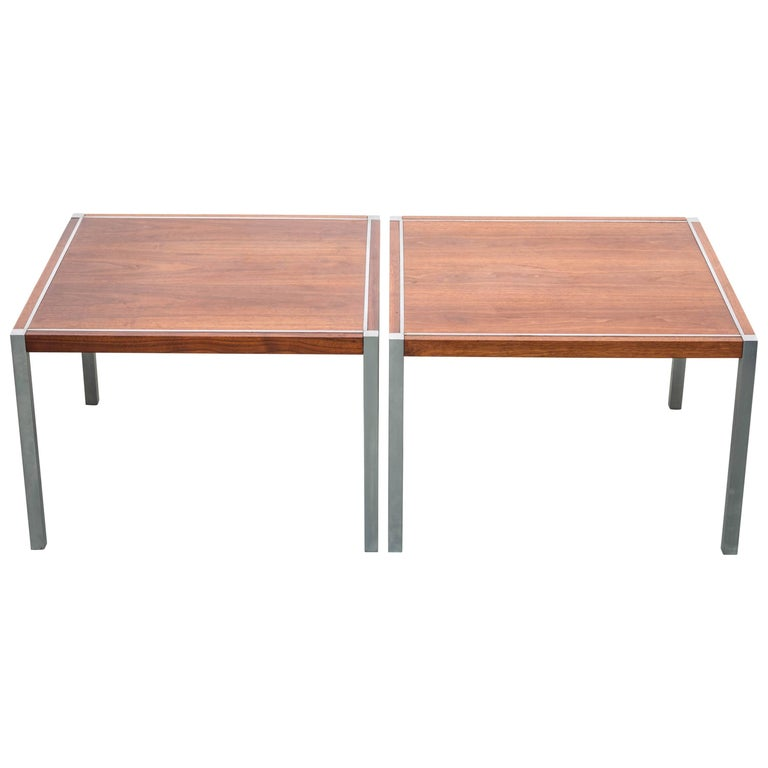 Pair of Walnut Side Tables by Richard Schultz for Knoll