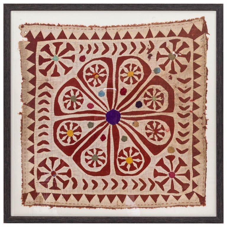 Framed Antique Hand Patchwork Tapestry from India