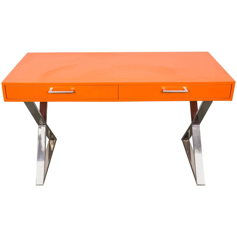 Milo Baughman X-Base Campaign Desk For Sale