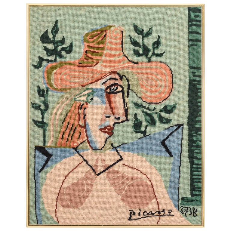 Picasso Portrait in Needlepoint, Lady in Hat For Sale