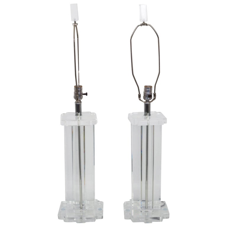 Pair of Lucite Rectangular Column Table Lamps For Sale