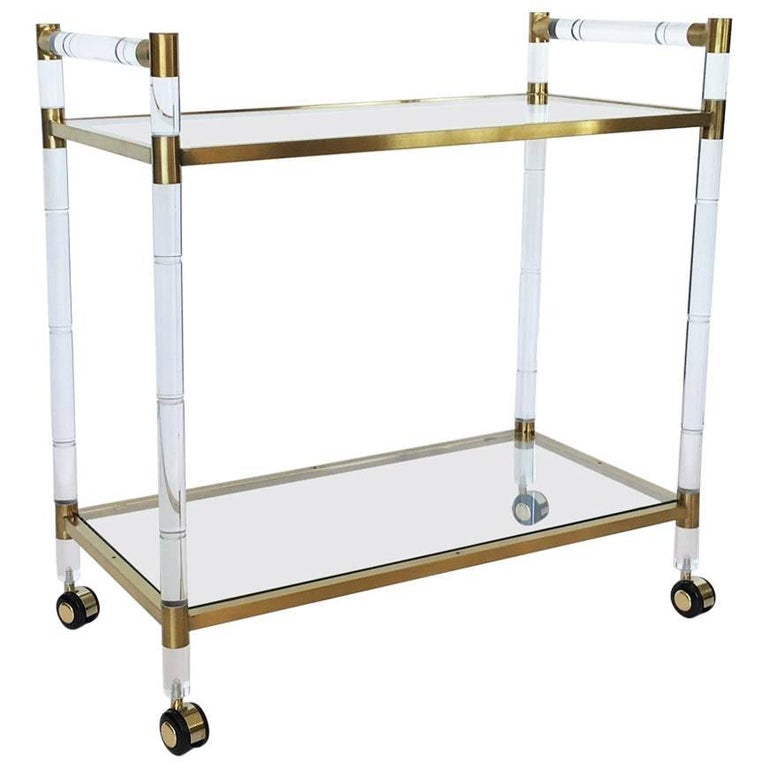 Charles Hollis Jones Stylized Bamboo Lucite and Brass Bar Cart