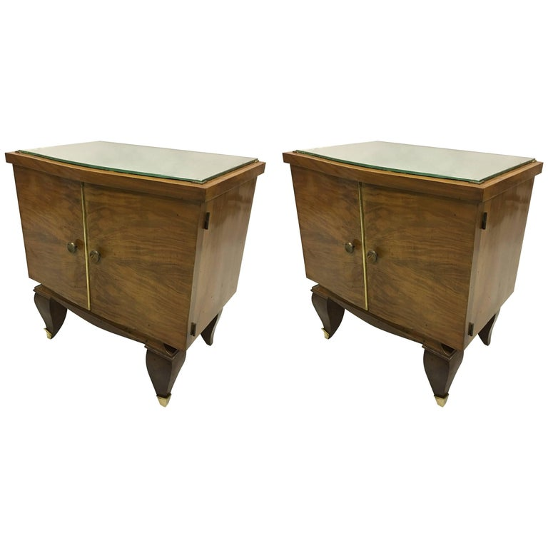Pair of Mid-Century Modern Neoclassical Side Tables/Nightstands, Rene Prou For Sale