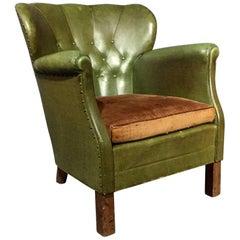 Danish Diminutive Club Chair, Original Green Oil Cloth, 1940s