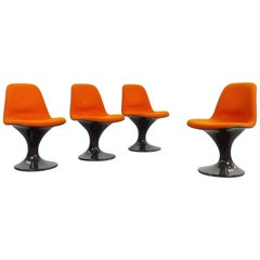 Set of Four Space Age Orbit Chairs in orange by Herman Miller Tulipstyle, 1970s