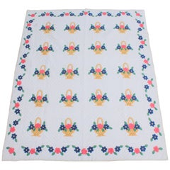 Applique Flower Basket Quilt