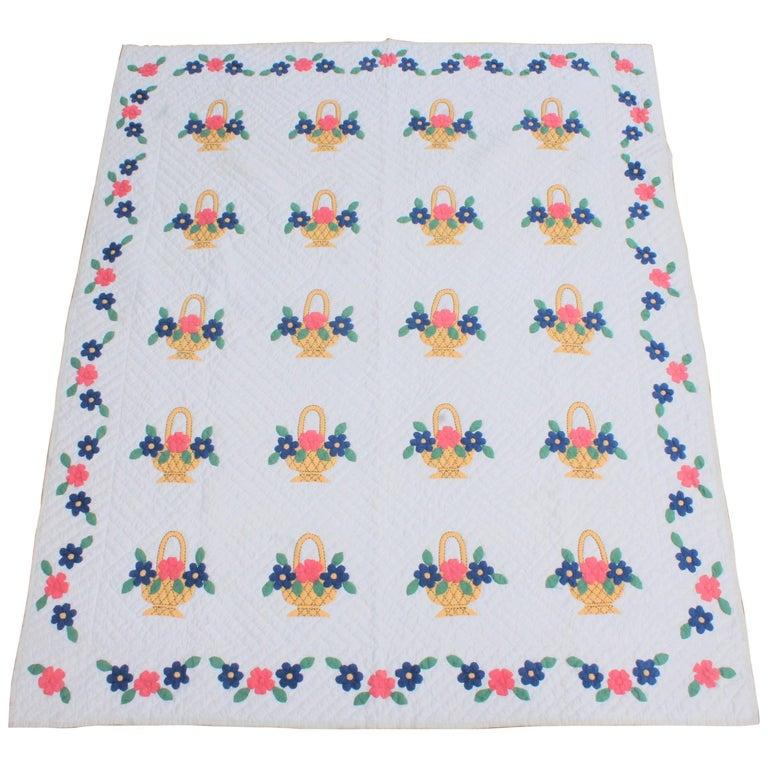 Applique Flower Basket Quilt For Sale