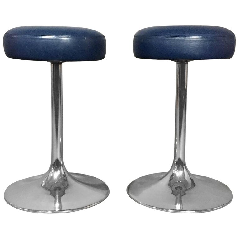 Pair of Johanson Design Chrome and Leather Stools, Sweden, 1970s