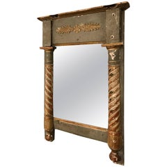 18th Century Small Paint and Gilt Mirror with Pilasters