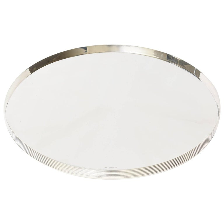 Vintage Christofle Silver-Plate Round Tray Barware Serving Tray