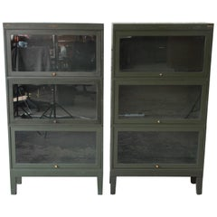 Antique Metal Barrister Bookcases by Shaw Walker, Pair