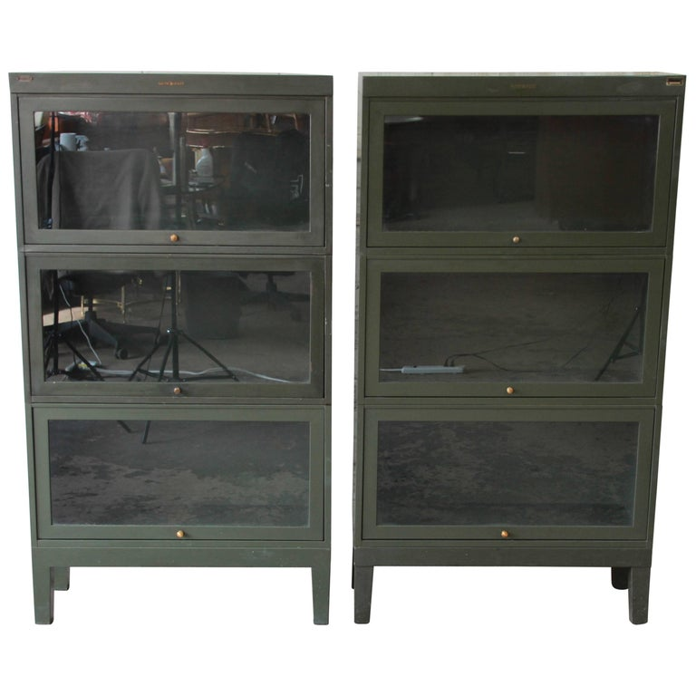 Antique Metal Barrister Bookcases By Shaw Walker Pair For Sale At