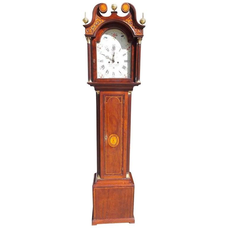 Scottish Mahogany Swan Neck Satinwood Patera Inlaid Tall Case Clock, Circa 1780 For Sale