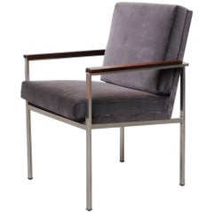 Gispen Seal Grey Velvet Armchair by A.R. Cordemeyer