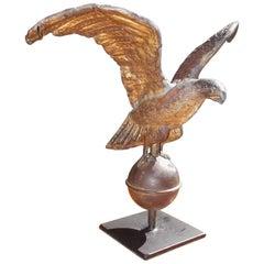 American Diminutive Gilt Copper Eagle Weathervane on Iron Stand, Circa 1810
