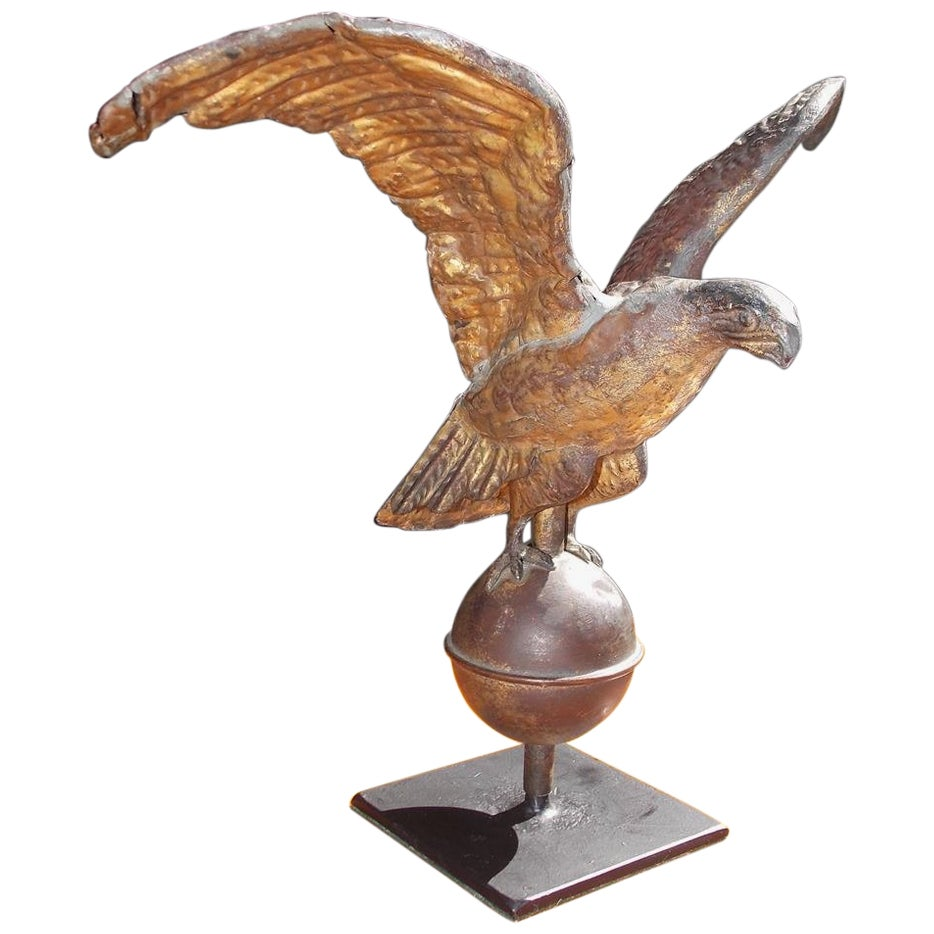 American Diminutive Gilt Copper Eagle Weathervane on Iron Stand, Circa 1810