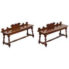 Pair of Italian Turned Walnut Benches in the Louis XIII Style, 19th Century