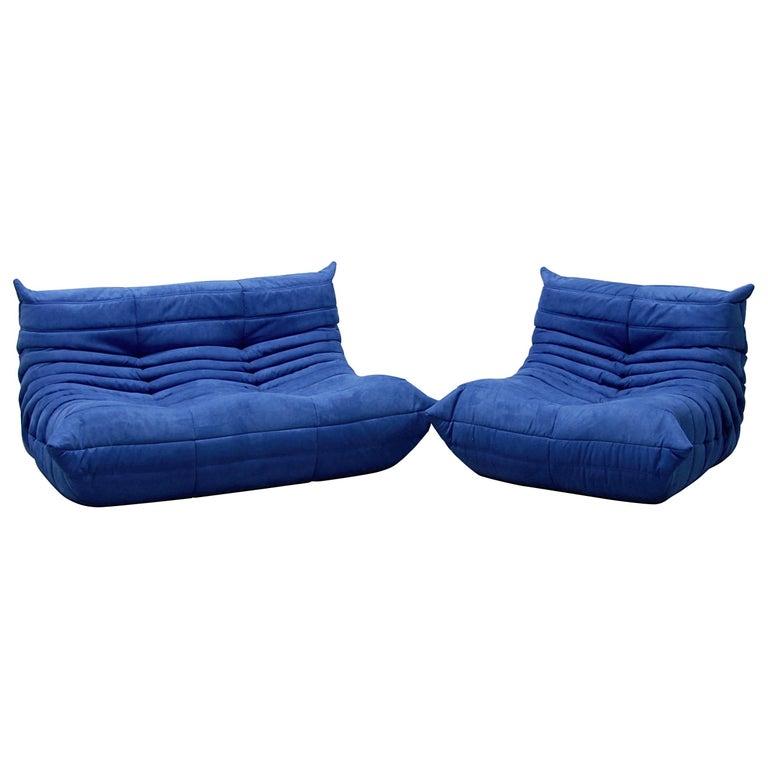 Vintage Blue Microfibre Togo Sofa Set By Michel Ducaroy For Ligne