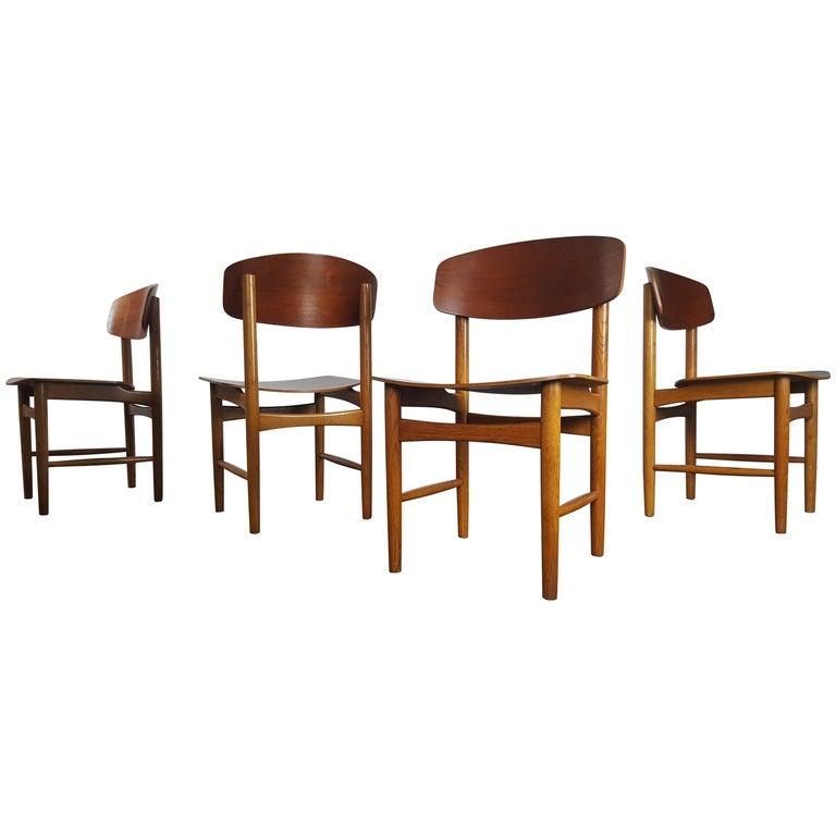Model 122 Teak and Oak Dining Chairs by Børge Mogensen for Søborg, 1960s