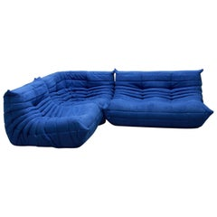 Vintage Blue Microfibre Togo Sofa Set by Michel Ducaroy for Ligne Roset, 1970s