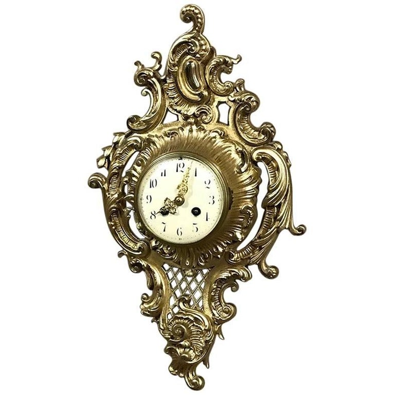 Antique French Louis XV Bronze Wall Clock or Cartel For Sale