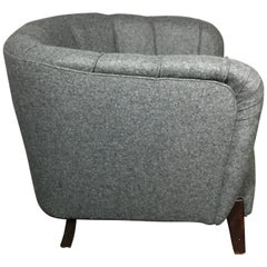 1940s Oversize Danish Club/Lounge Chair, New Felted Wool Covers