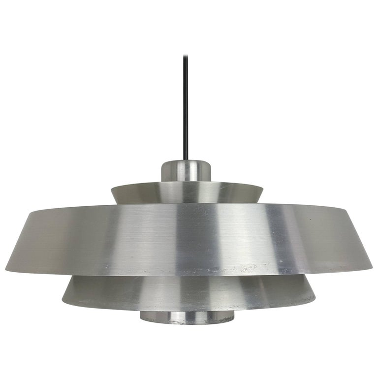 Jo Hammerborg Nova Pendant Light in Aluminium for Fog & Mørup, Denmark, 1960s