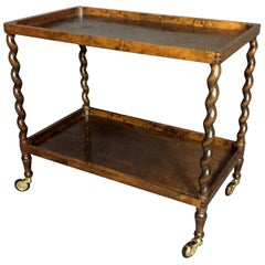 1930s Belgian Turned Spiral-Leg Mahogany Drinks Trolley